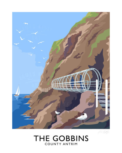 Vintage style travel poster art print of the Gobbins coastal path, County Antrim