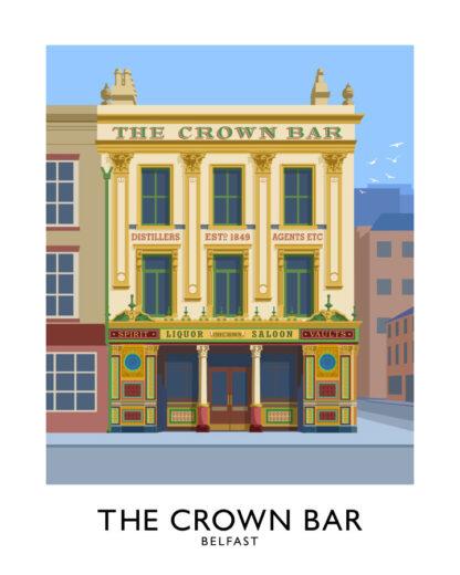 Vintage style art print of the Crown Bar in Belfast, Northern Ireland.