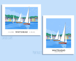 Vintage style art print of a sailing yachts off Whitehead seafront, County Antrim