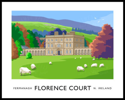 Vintage style art print of Florence Court House in County Fermanagh