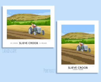 Vintage style art print of an old Ferguson TE20 tractor ploughing a field near Slieve Croob, County Down