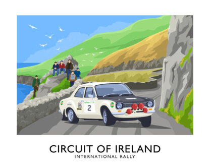 Vintage style art print of Roger Clark's Mark 1 Ford Escort competing in the 1968 Circuit of Ireland rally