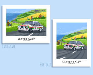 Vintage style art print of Bertie Fisher's Mark 2 Ford Escort competing in the Ulster Rally