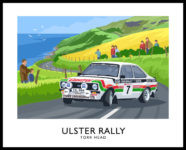 Bertie Fisher driving a Mk2 Ford Escort in the Ulster Rally.