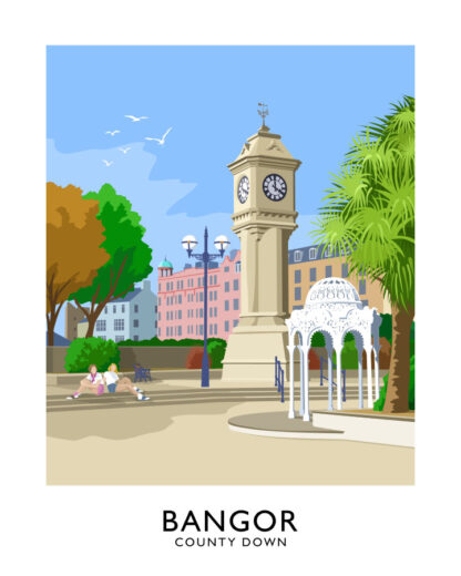 Vintage style art print of the McKee Clock in Bangor, County Down