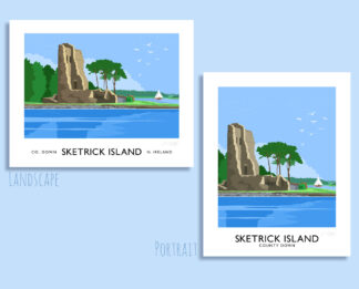 Vintage style art print of Sketrick Castle at Whiterock on the coast of Strangford Lough, County Down