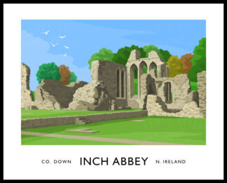 Vintage style art print of Inch Abbey, County Down