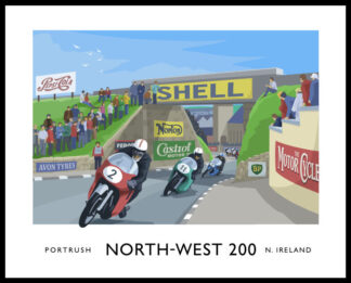 Vintage style art print of the Nort-West 200 motorcycle road race through Portrush