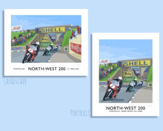 Vintage style travel poster art print of the Nort-West 200 motorcycle road race through Portrush