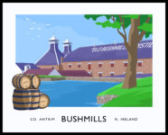 Vintage style art print of the Bushmills Distillery,County Antrim.