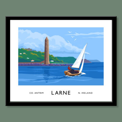Vintage style art print of a sailing boat passing Chaine Memorial Tower, Larne, Northern Ireland.