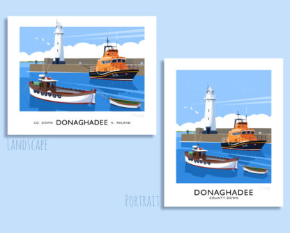 Vintage style travel poster art print of the harbour and lighthouse at Donaghadee, County Down