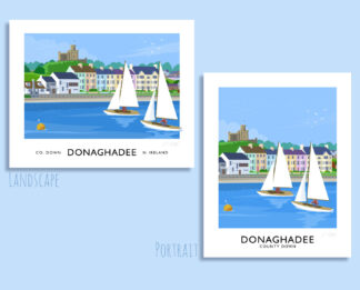 Vintage style travel poster art print of a sailing yachts off Donaghadee seafront, County Down