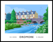 Vintage style art print of Dromore, County Down.