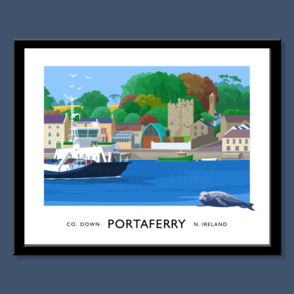 Vintage style art print of the Strangford ferry boat at Portaferry, County Down.