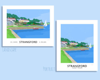 Vintage style travel poster art print of Strangford Harbour, County Down