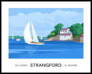 Vintage style art print of sailing yachts at Strangford, County Down