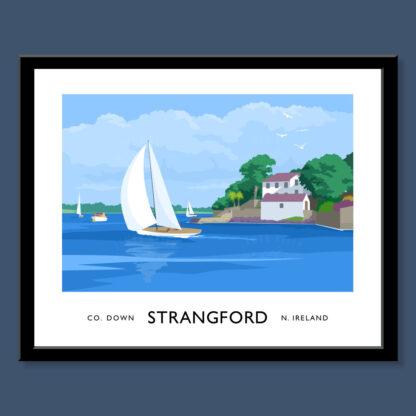 Vintage style art print of sailing yachts at Strangford, County Down