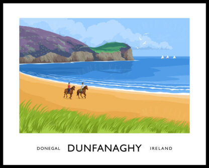 Vintage style art print of Kilahoey Strand at Dunfanaghy, County Donegal.