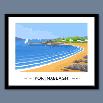 Vintage style art print of Portnablagh, County Donegal