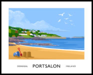 Vintage style art print of Portsalon, County Donegal