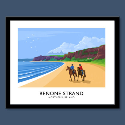 Vintage style art print of Benone Strand on the North-West coast of Northern Ireland