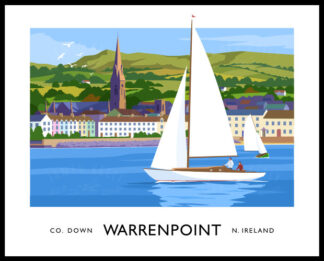 Vintage style art print of sailing yachts off Warrenpoint, County Down
