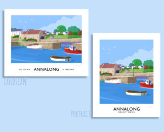 Vintage style art print of Annalong harbour, County Down.