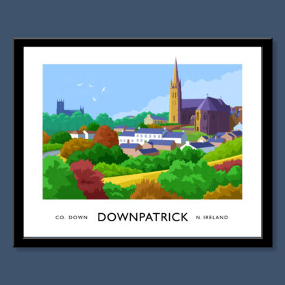 Vintage style art print the Downpatrick skyline..