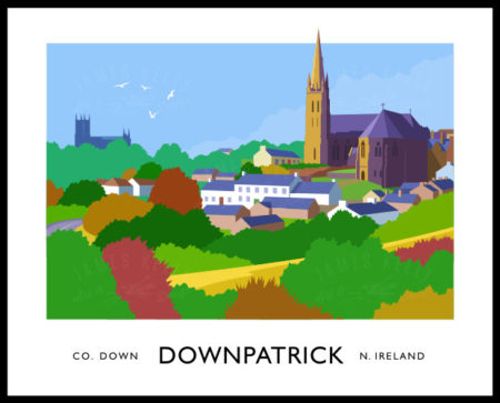 Vintage style art print of the Downpatrick skyline.