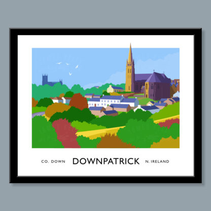 Vintage style art print of the Downpatrick skyline.