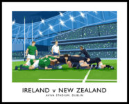 Vintage style art print of an Ireland v New Zealand rugby match at the Aviva Stadium, Dublin.