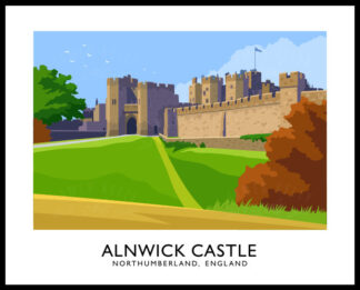 Vintage style art print of Alnwick Castle in Northumberland, England.