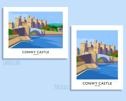 Vintage style art print of Conwy Castle in North Wales