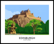 Vintage style art print of Edinburgh Castle, Scotland.