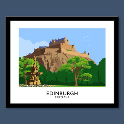 Vintage style art print of Edinburgh Castle, Scotland.