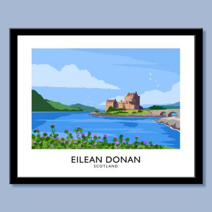 Vintage style art print of Eilean Donan Castle, Scotland