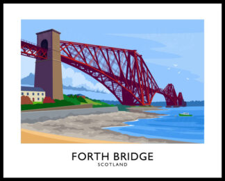 Vintage style art print of The Forth Bridge near Edinburgh, Scotland.