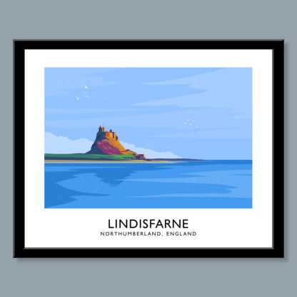 Vintage style art print of Holy Island at Lindisfarne, Northumberland, England