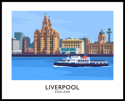 Vintage style art print of Liverpool and the Mersey Ferry.
