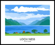 Vintage style art print of Loch Ness in Scotland.