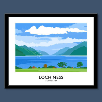Vintage style art print of Loch Ness in Scotland