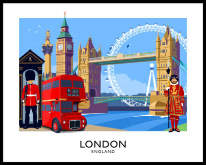 Vintage style art print of the City of London