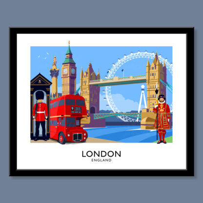Vintage style art print of the City of London, England