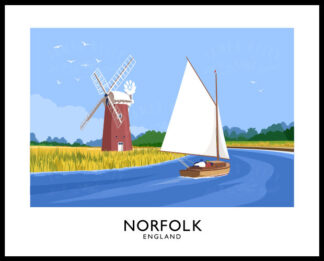 Vintage style art print of a windmill and sailing boat on the Norfolk Broads, England
