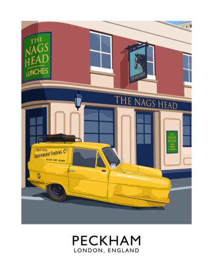 Vintage style art print of the home of Only Fools and Horses sitcom including The Nags Head pub, the Mandella House tower block and the Trotter's van.