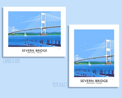Vintage style art print of the Severn Bridge linking England and Wales.