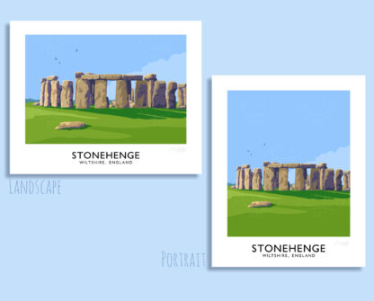 Vintage style art print of the standing stones of Stonehrnge, Wiltshire, England.