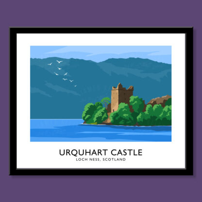 Vintage style art print of Urquhart Castle on the shores of Loch Ness, Scotland.