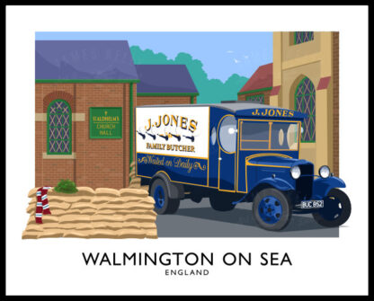 Vintage style art print of Walmington On Sea, the home of the Dad's Army tv sitcom.